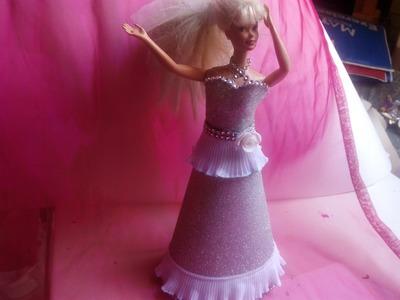 Diy Vestido de fiesta  para barbie con goma eva 2