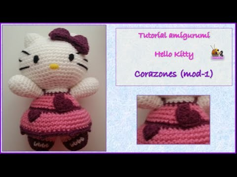 Tutorial amigurumi Hello Kitty - Corazones (mod-1)