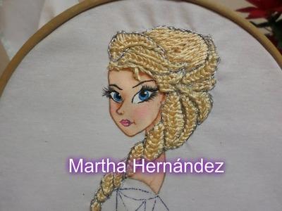 Bordado Fantasía Cabello Elsa Frozen