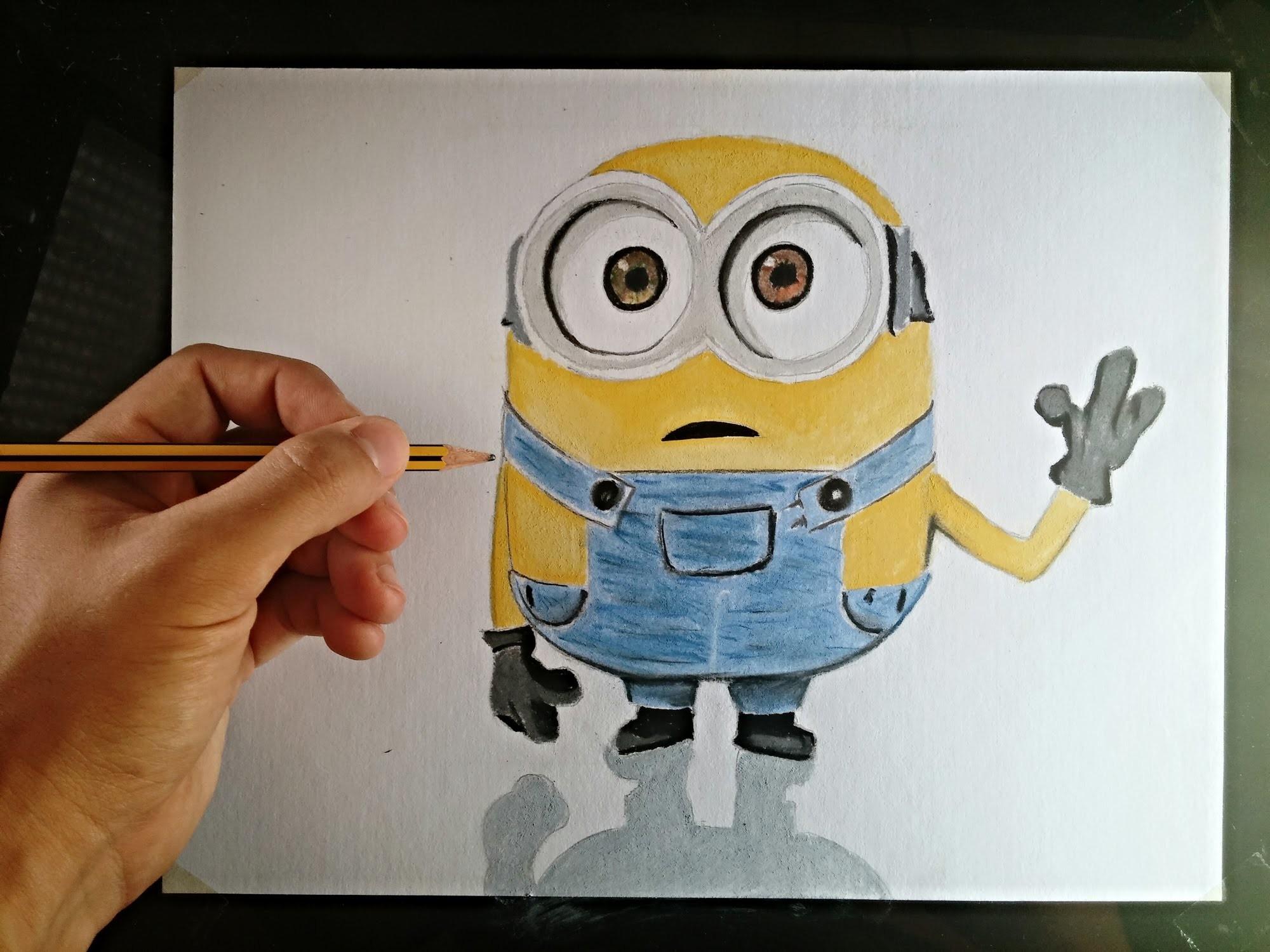 Cómo dibujar un Minion con lápices de colores | How to draw a Minion