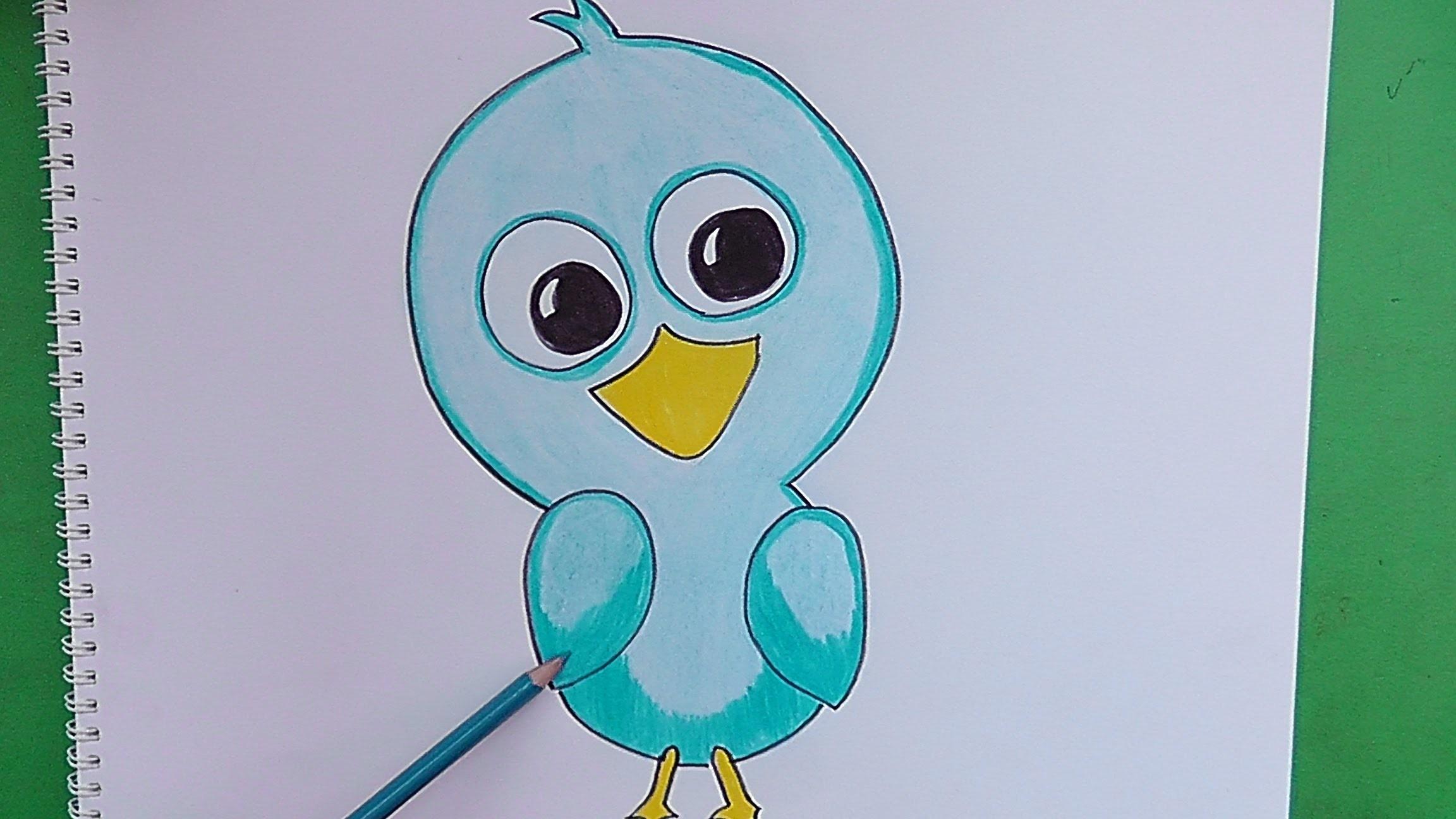 Como dibujar y pintar paso a paso a Pajaro - How to draw and paint step by step Pajaro