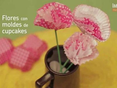 Flores con moldes de cupcakes | @iMujerHogar