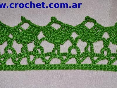 Puntilla N° 52 en tejido crochet tutorial paso a paso.