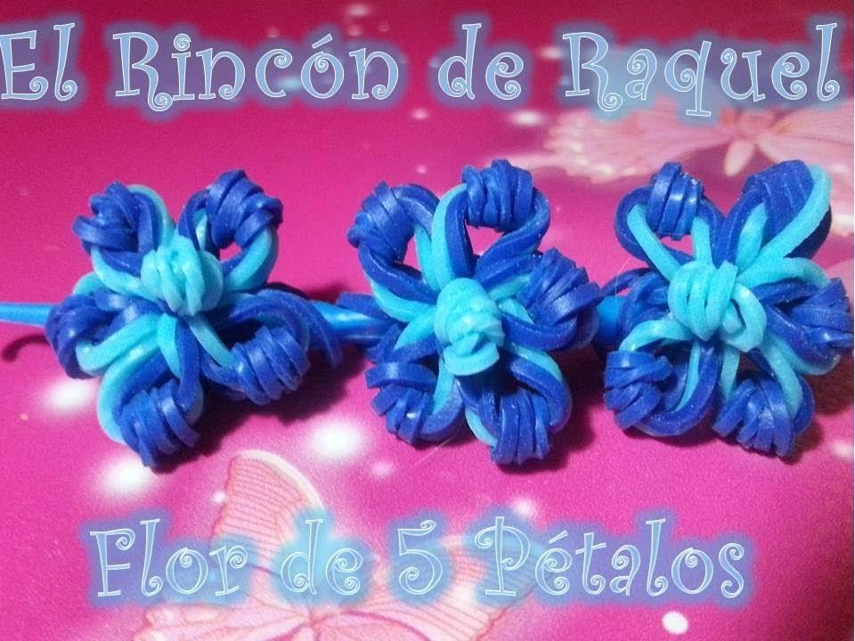 Como hacer una flor de 5 petalos con gomitas rainbow loom