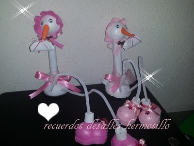 DIY Como Hacer fofucha  Cigueña piernas largas baby shower