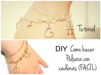DIY Como hacer Pulseras con Cadenas ( fácil )