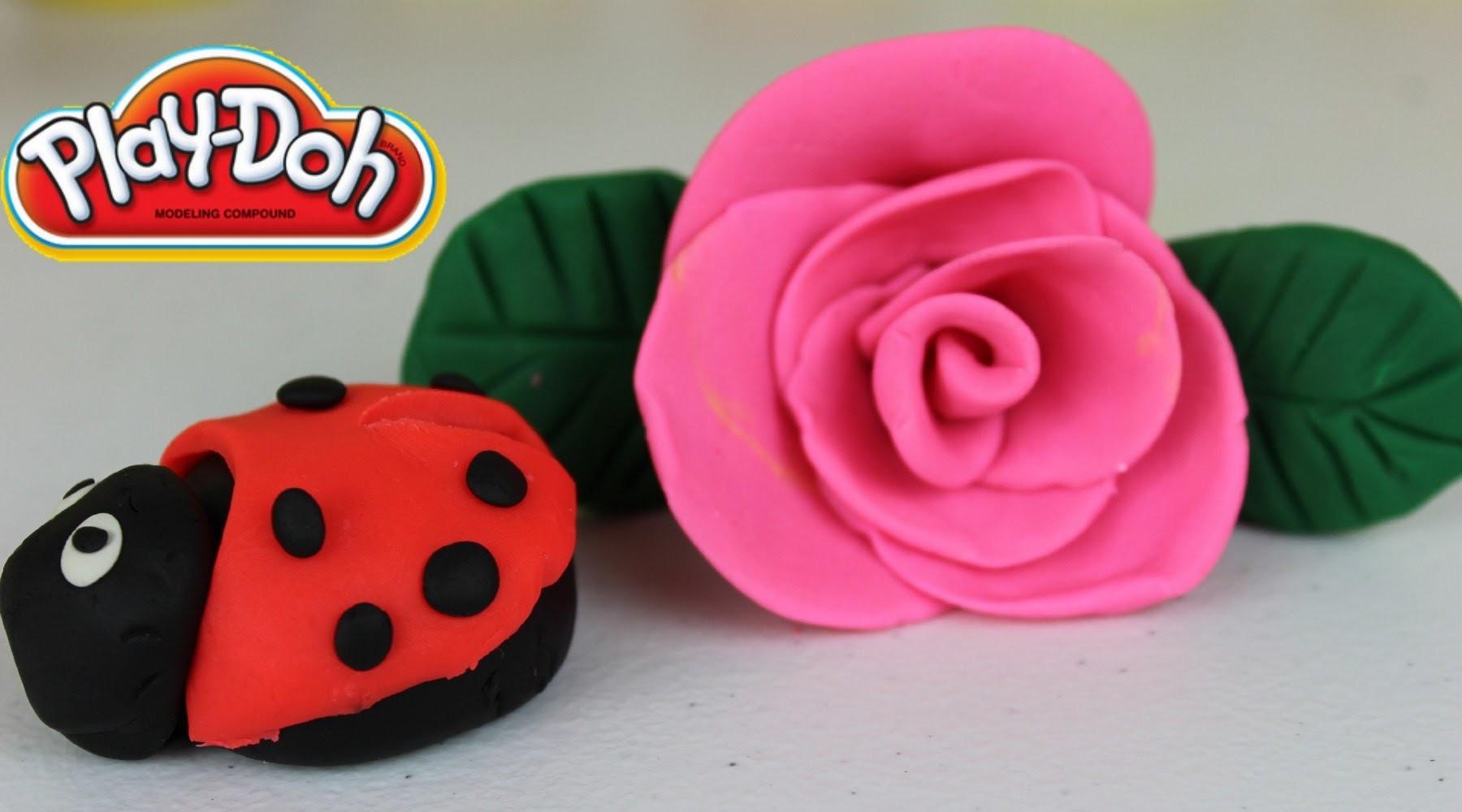 Plastilina Play-Doh  Como Hacer una Rosa y una Catarina  Rose n Lady Bug