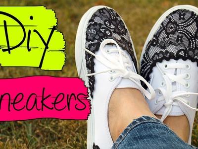 Skeakers con encaje DIY   Zapatillas con encaje