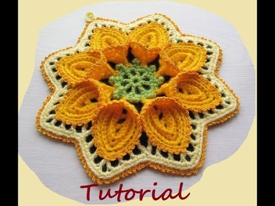 Tutorial flor puritan crochet. Flor grande de ganchillo. Parte 1 de 2.