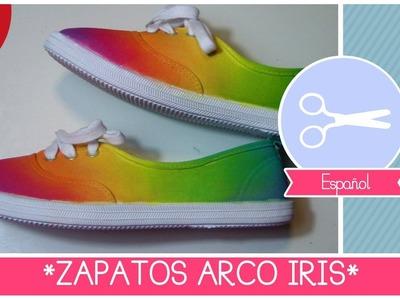ZAPATOS ARCO IRIS DIY (Hazlo to Mismo!) Manualidad fashion