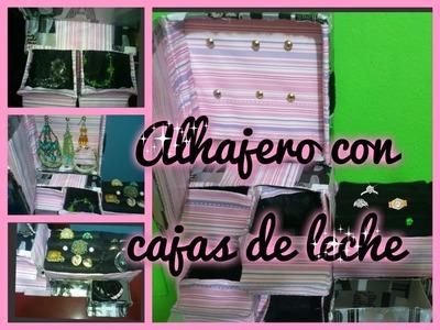 ♥como hacer un ALHAJERO con cajas de LECHE♥