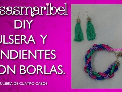 DIY:Pulsera y pendientes con borlas paso a paso (Conjunto para el  collar cuatro cabos y flecos)