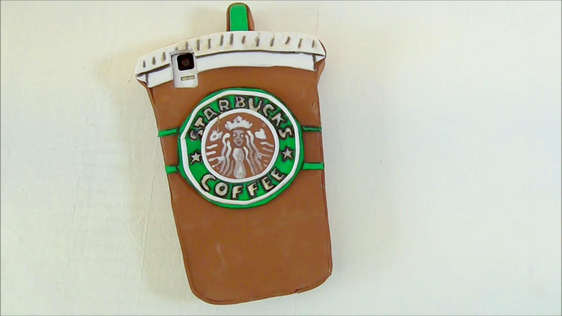 Funda para móvil con la forma de un vaso de café del Starbucks. Manualidades fáciles