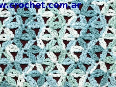 Punto Fantasía N° 49 en tejido crochet tutorial paso a paso.