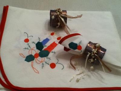 Servilletero de navidad con perlitas