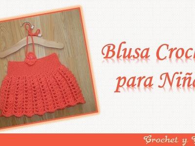 Blusa – vestido para niña tejido a crochet con abanicos y punto relieve
