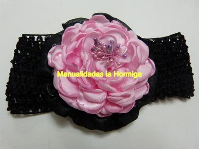 Como elaborar  flores,rosas grandes elaboradas en tela satin para el cabello