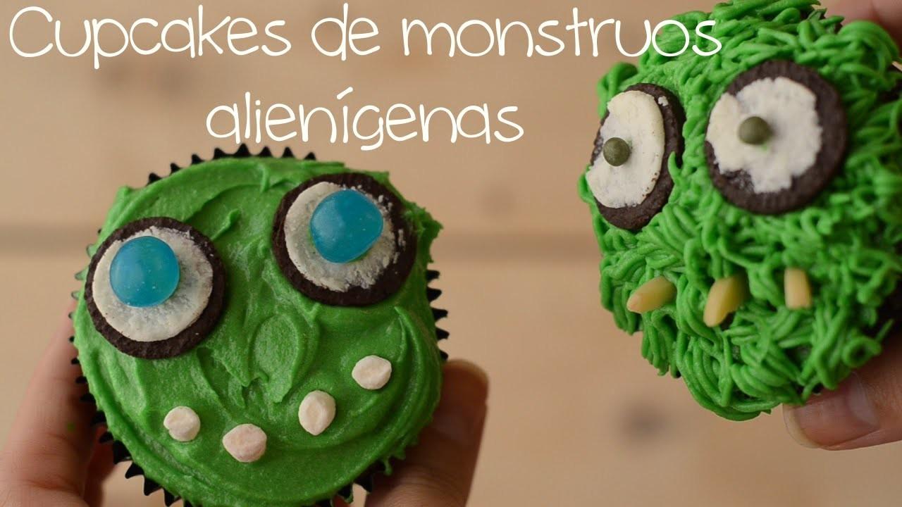 Cómo hacer cupcakes de monstruos alienígenas (decoración) ♡ Bocados Divinos