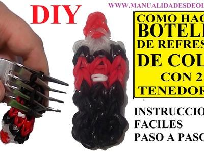 COMO HACER UNA BOTELLA DE REFRESCO DE COLA DE GOMITAS CON DOS TENEDORES. FIGURA BOTTLE CHARM