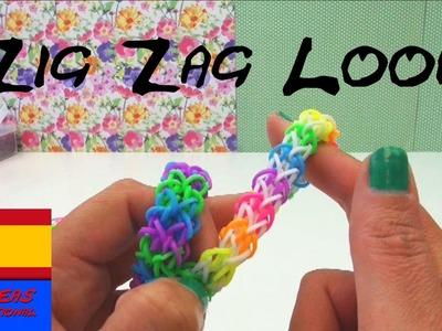 Como hacer una pulsera de ligas ZIG ZAG con tenedor en español - Rainbow Loom zigzag bracelet