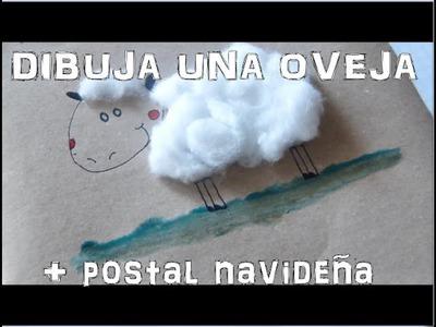 Dibuja una Oveja + Postal navideña [Manualidad fácil para niños] Especial Navidad VIII