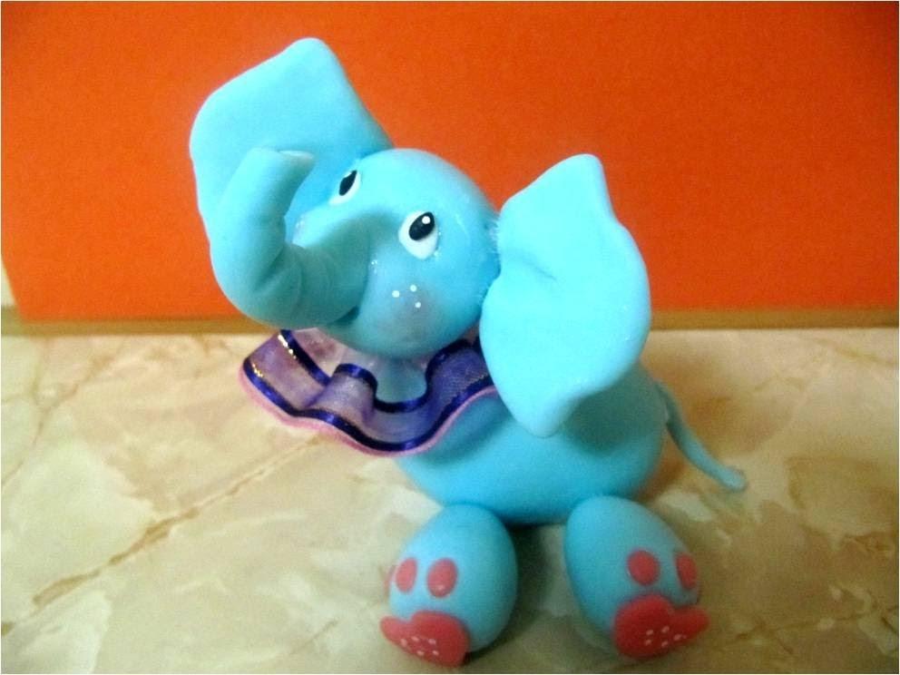 Manualidades elefantito baby de porcelana fría