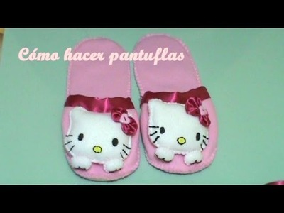 Pantuflas+Llavero Hello Kitty 2.2 (Cómo Hacer Pantuflas)
