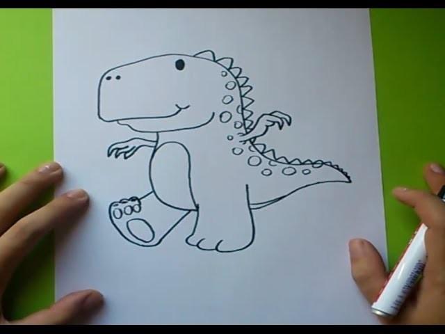 Como dibujar un dinosaurio paso a paso 2 | How to draw a dinosaur 2