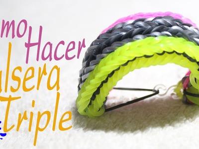 Como hacer  pulsera triple -  manillas de goma -  pulseras de goma rainbow - blazaletes