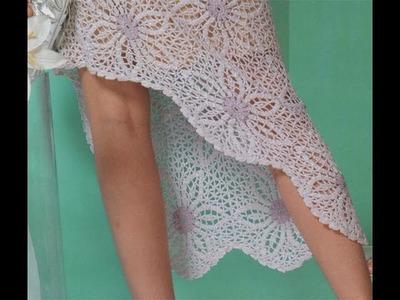 Vestido Motivos Pastillas con Flores a Crochet