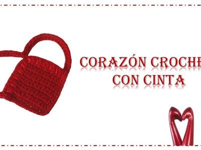 Corazón con cinta crochet (ganchillo)