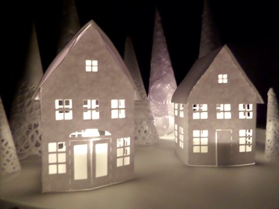 Casas y árboles de papel. Decoración de Navidad . Puente a la Navidad 2014