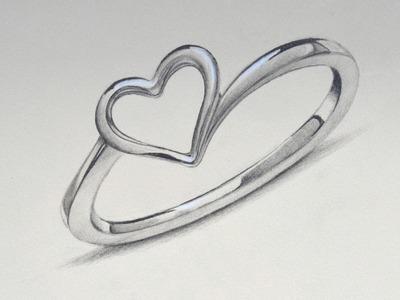 Cómo dibujar un anillo de plata con un corazón - Arte Divierte.