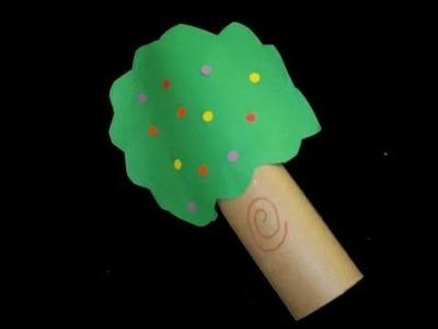 Cómo hacer un arbol con tubo de papel higienico y papel de color