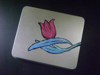 Joyerito para mamá: Tulipan pintado en lata reciclada