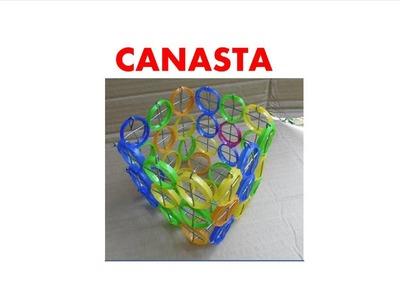 MANUALIDADES  - Como hacer una canasta con anillos de botellas recicladas  - RECICLAJE