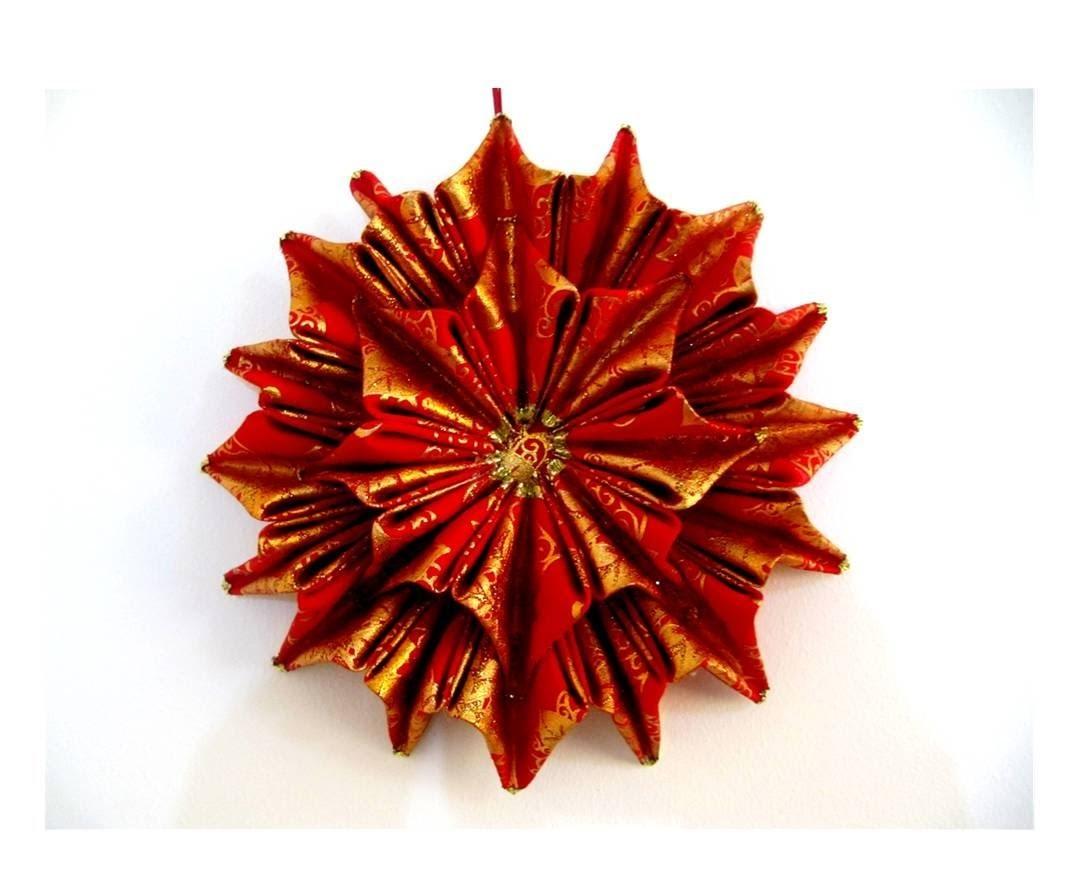 Moños navideños flor estrella doble relieves  en cintas