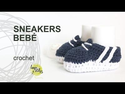 Tutorial Zapatillas o Sneakers de Bebé Crochet o Ganchillo en Español