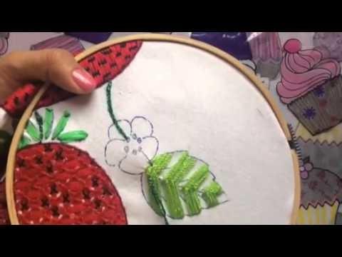 91.- Bordado fantasia para hojas de las fresas parte 4 de 5