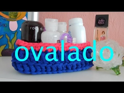 Cesta Ovalada Trapillo Crochet Ganchillo Diy Oval Basket