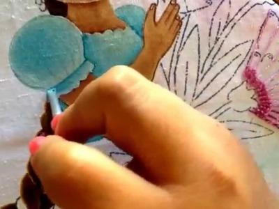 Pintura en tela niña de claveles # 3 con cony