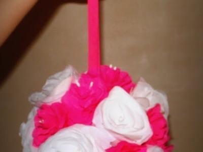 Decoracion para fiesta con flores de papel