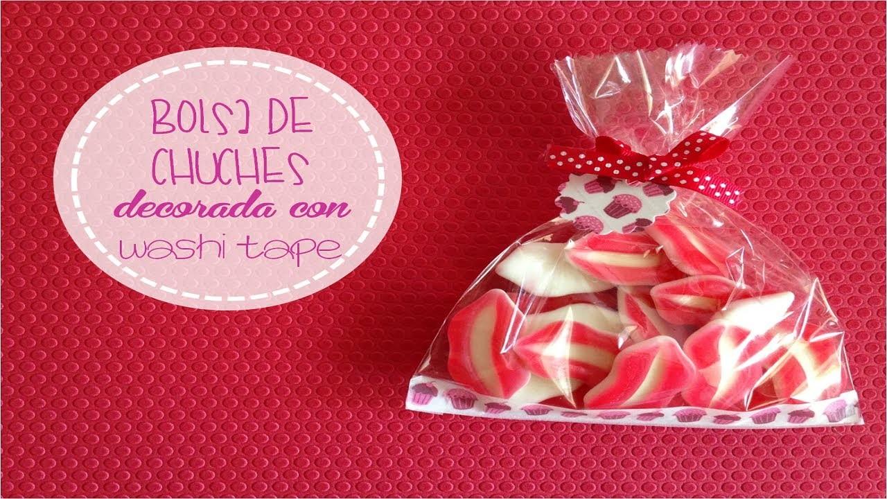 Bolsa de chuches decorada con Washi Tape - Manualidades DIY