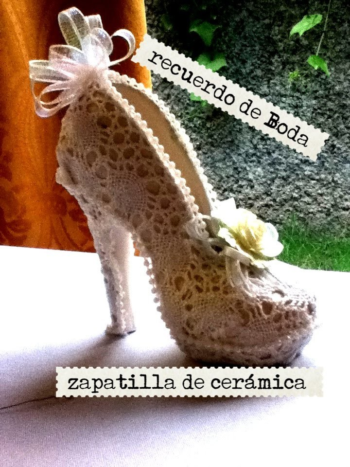 Como decorar una zapatilla de cerámica recuerdo de boda FOR WEDDING DECORATED POTTERY