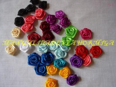 Como elaborar flores miniatura en cinta de raso.flores rococo pequeñas  No.117