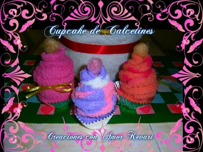 Como Hacer Cupcake de Calcetines。・:*:・゚☆.How to Make a Socks Cupcakes