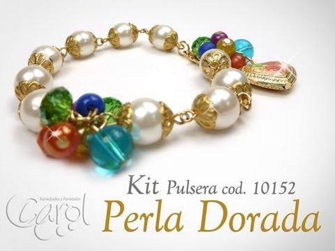 Como hacer pulseras con perlas y tapabolas KIT 10152