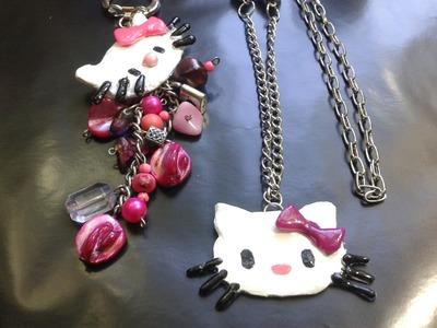 Como hacer un dije de Hello Kitty con silicona caliente. DIY