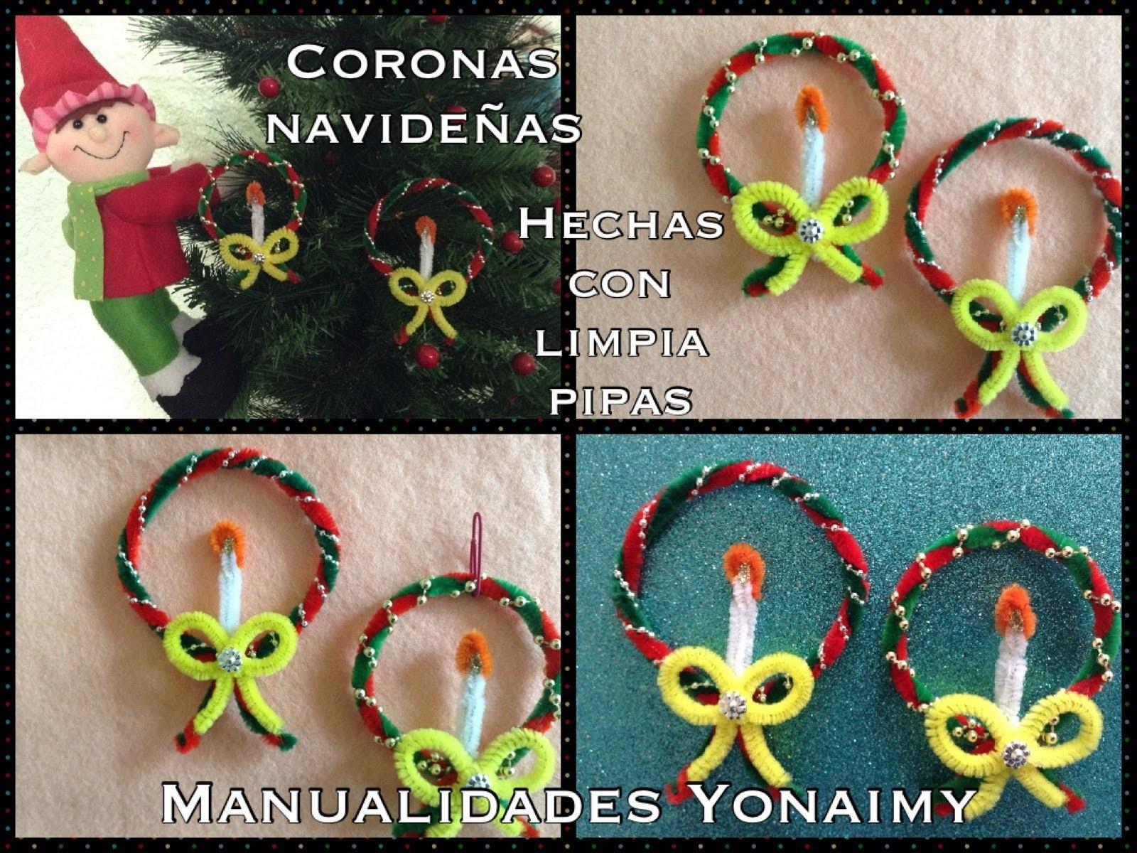 Coronas navide as hechas con limpia pipas - Como hacer coronas navidenas ...