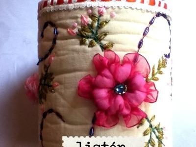 DIY Recicla  decora bote listón cinta flores